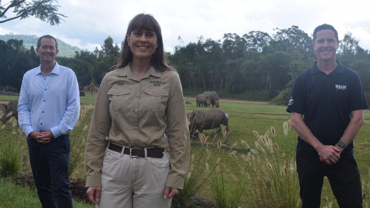 RELIEF: Federal Member for Fisher Andrew Wallace, Australia Zoo's Terri Irwin and SEALIFE's Quinn Clarke have welcomed the Federal Government's $94.6 million support package for Australian zoos and aquariums.