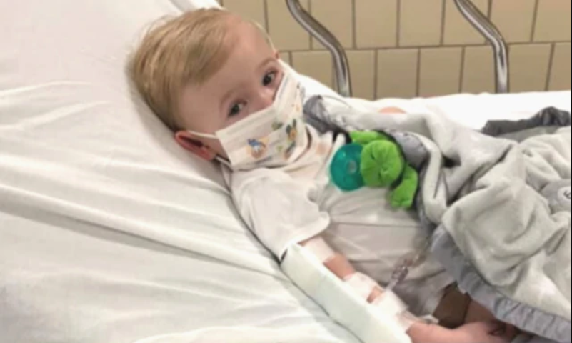 Amanda May and Ryan Schrieber had the fright of their life as their one-year-old son Luke had a scorching fever and was diagnosed with covid-19. Image: Facebook