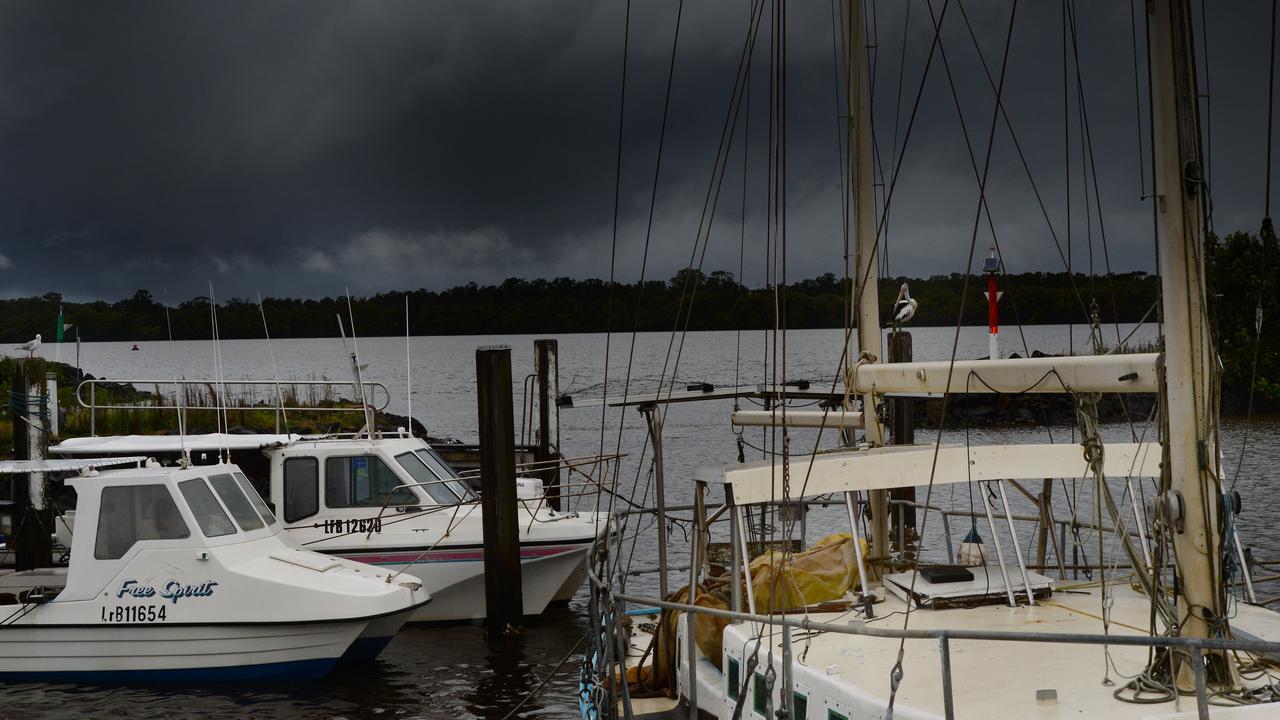 Ballina boat harbour under some dark clouds. Photo: Mireille Merlet-Shaw/The Northern Star