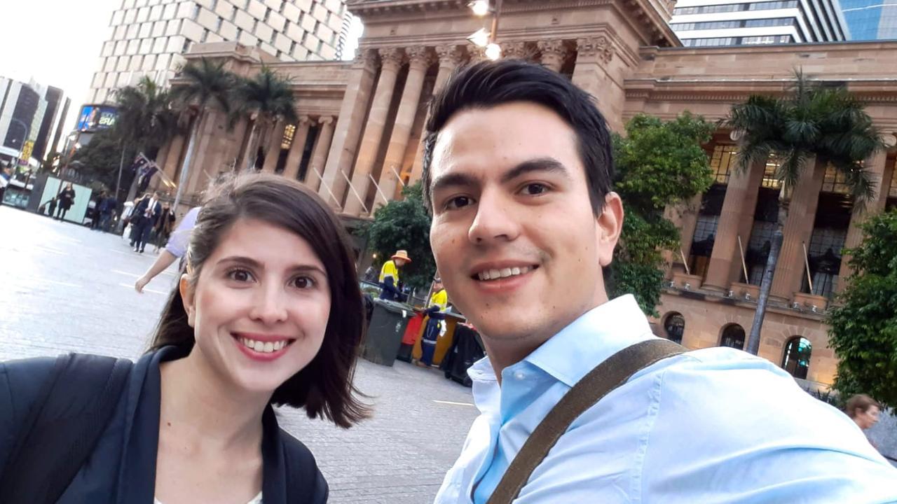 International student Sara Mejia Munoz and her husband Jaime Gutierrez were loving Brisbane before the coronavirus hit. Photo: Supplied.