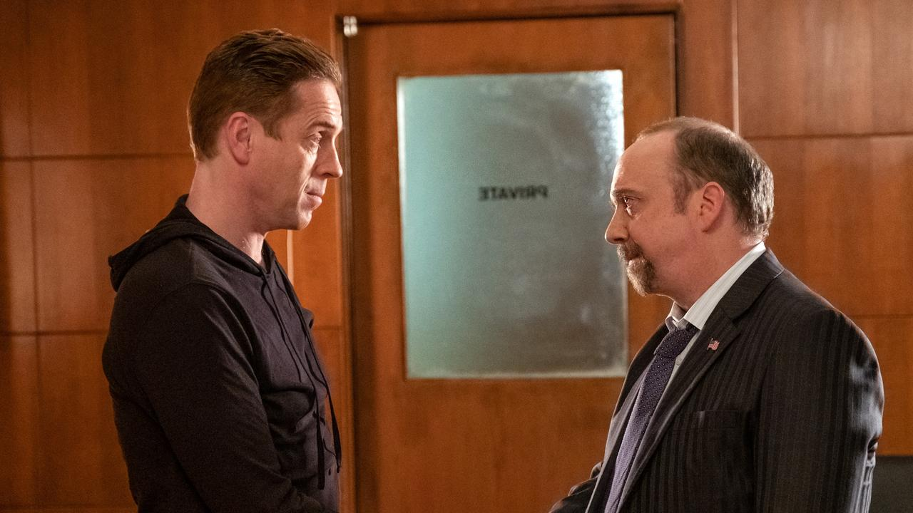 Bobby Axelrod (Damian Lewis) and legal eagle Chuck Rhoades (Paul Giamatti) in Billions.