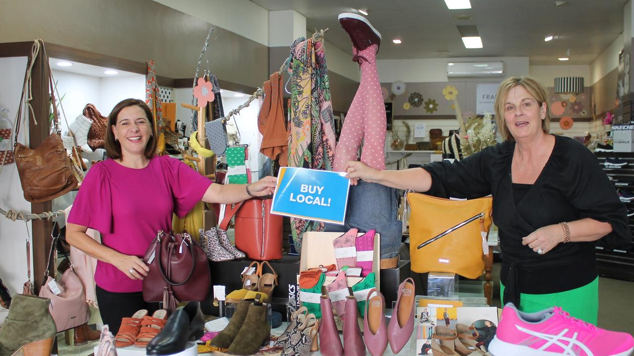 Practising good social distancing! Member for Nanango, Deb Frecklington says a 50km travel limit won't help regional Queenslanders. She still urges people to 'buy local' at small businesses like Burtons Shoes. (Photo: Contributed)