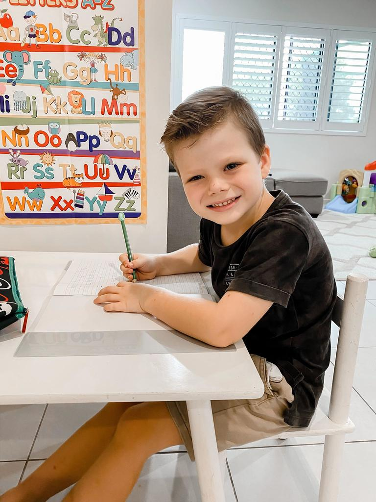 Fitzgerald State School prep student Preston Knapman on his first day learning at home during the coronavirus crisis. Picture: Contributed.