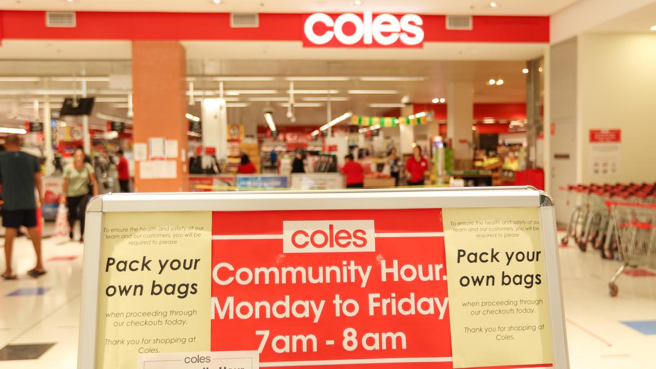 Both Coles and Woolworths implemented various ways to limit exposure to the deadly virus. Picture Glenn Campbell