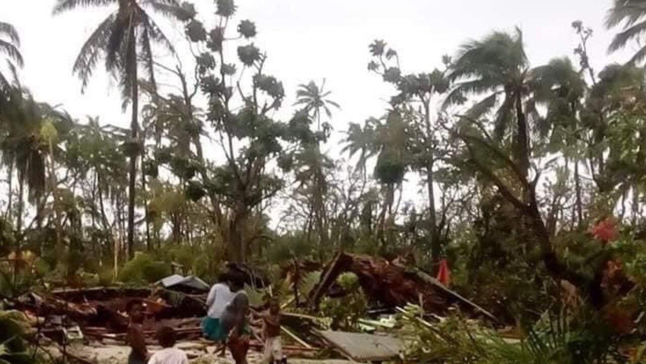 Destruction on one of the many islands in Vanuatu after cyclone Harold hit. Picture: https://twitter.com/sandravanuatu