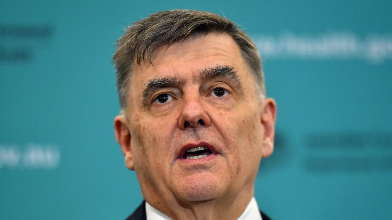 Chief Medical Officer Professor Brendan Murphy at a press conference at the Department of Health in Canberra, Monday, April 27, 2019. (AAP Image/Mick Tsikas)