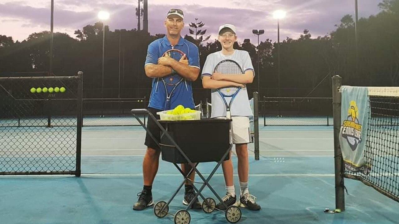 Coolum Tennis Club head coach Andrew Ash with rising junior Harry Crokam.