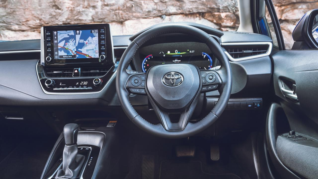 The Corolla's interior is functional, if not eye-catching. Picture: Thomas Wielecki.