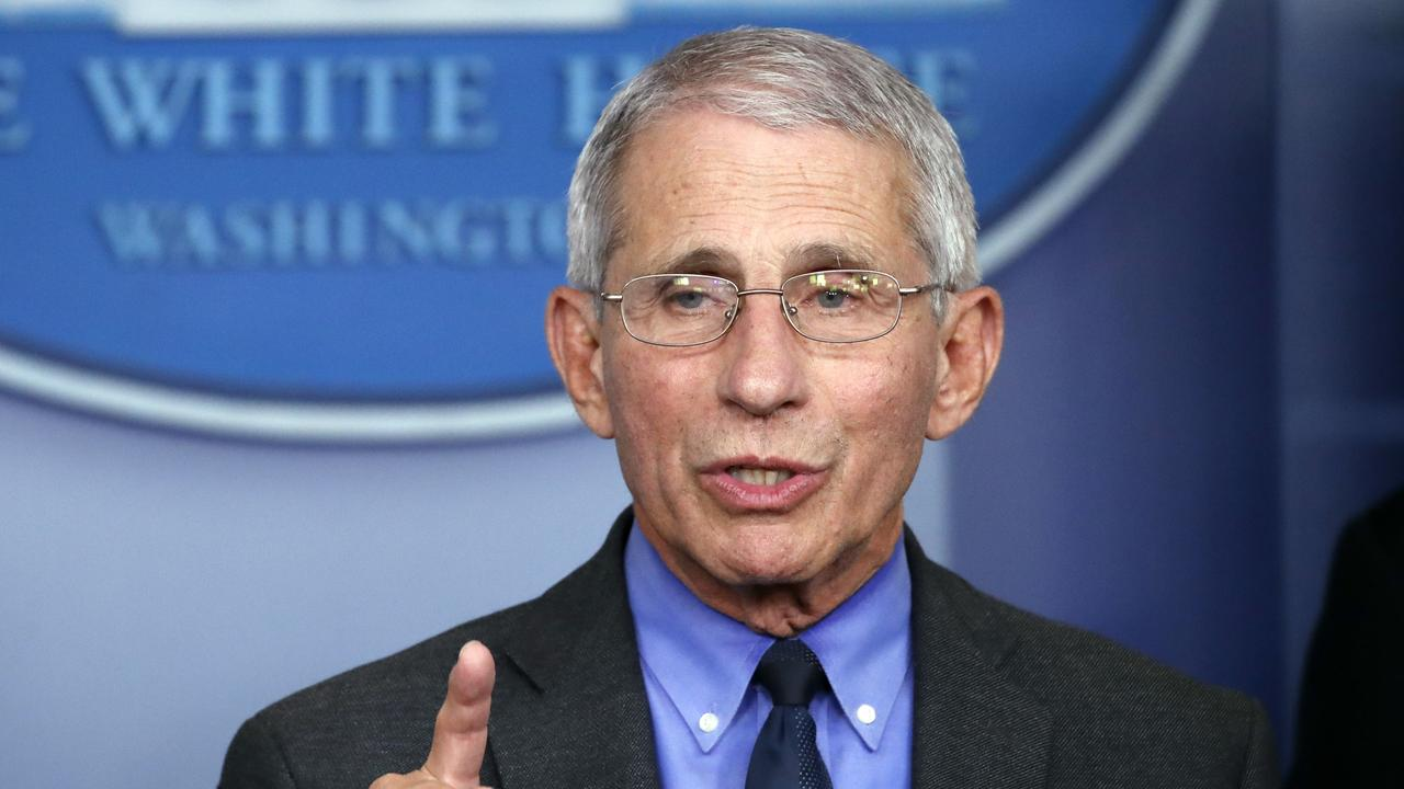 Dr. Anthony Fauci, director of the National Institute of Allergy and Infectious Diseases, speaks about the coronavirus in Washington. Picture: Alex Brandon.