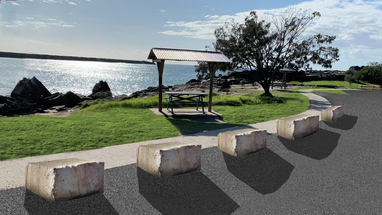 A concept image provided by Clarence Valley Council shows the replacement of log post and rail fencing along the ocean side of the Turners Beach park with sandstone blocks.