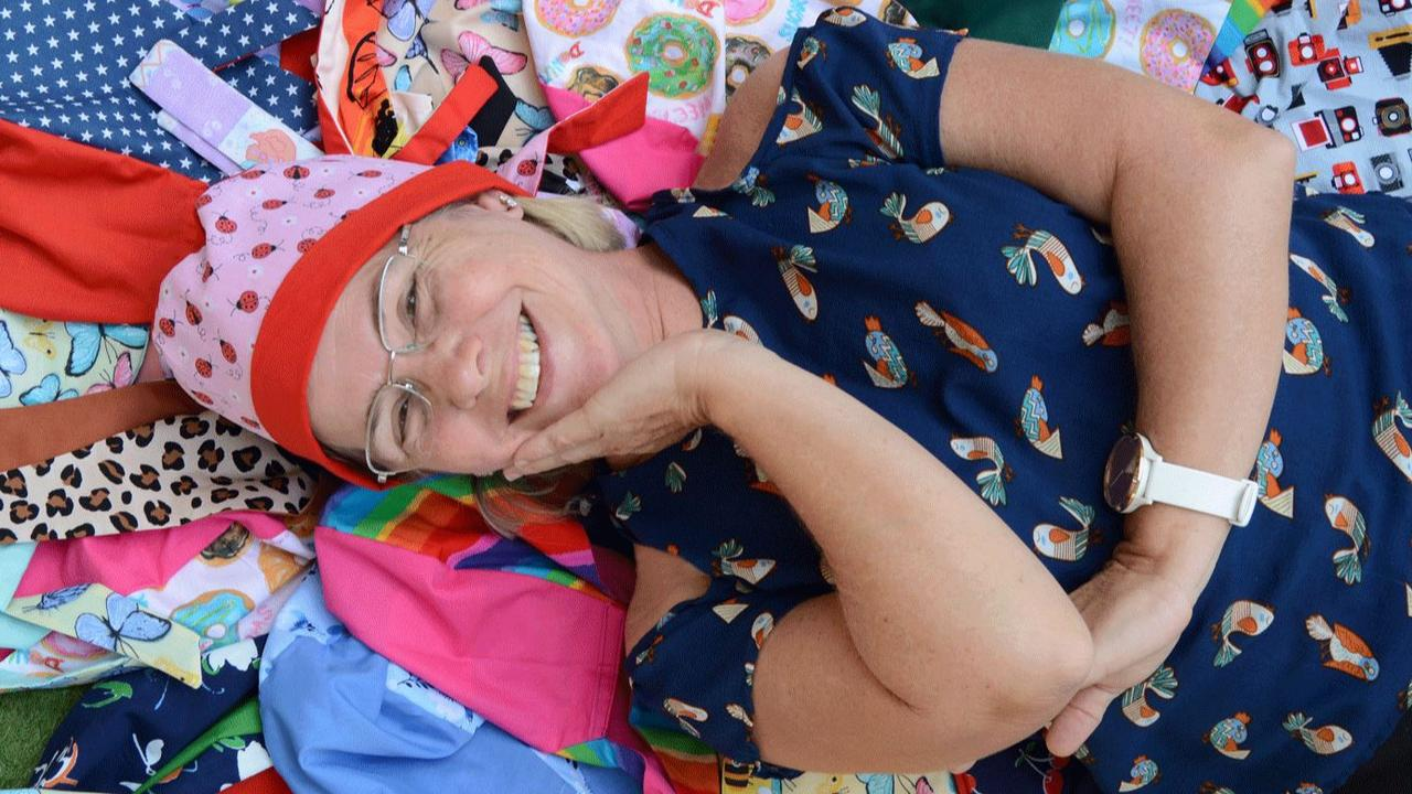 Holy Spirit College campus minister Carolyn D'Anna was proud to deliver 128 scrub hats to the team at Mackay Base Hospital. Picture: Contributed.