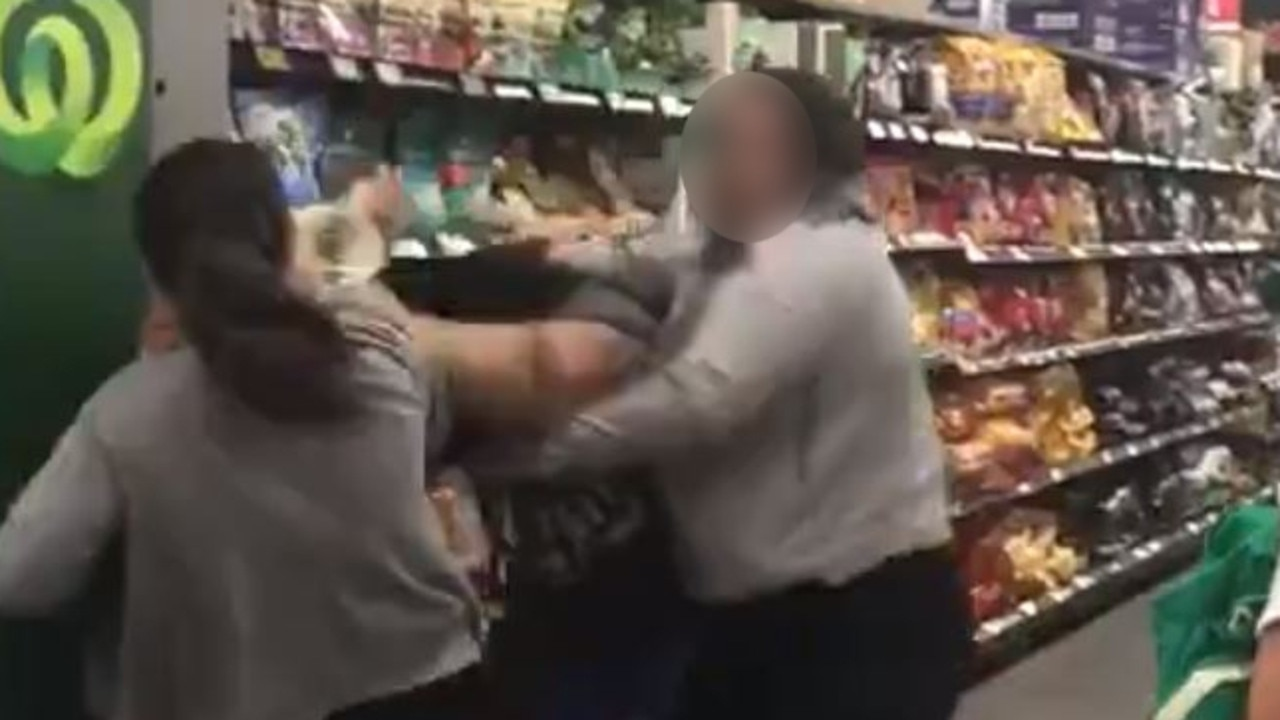 Three women fight over toilet rolls in Woolworths Chullora. Picture: Twitter