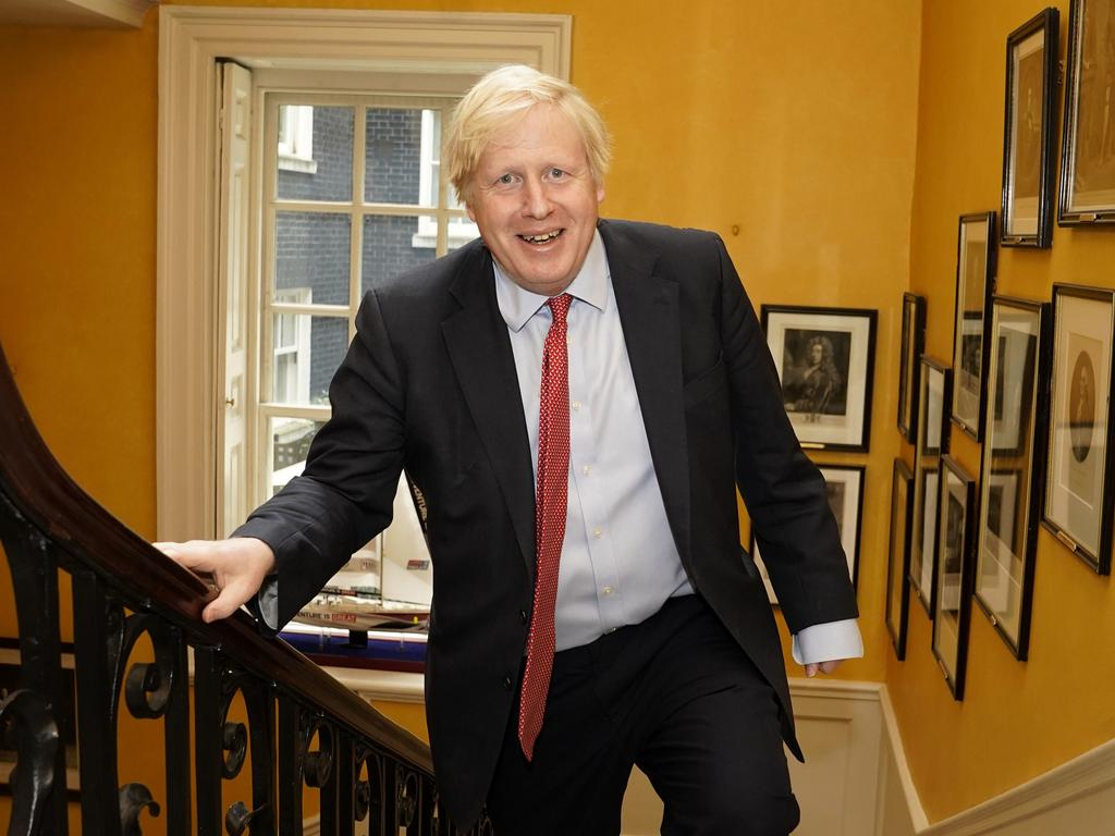 Boris Johnson arriving back at Downing Street from hospital after the birth of his baby son. Picture: Andrew Parsons/10 Downing Street via AP
