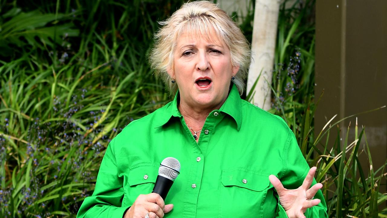 Capricornia MP Michelle Landry speaks at the Rookwood Weir Rally on the banks of the Fitzroy River in December last year.