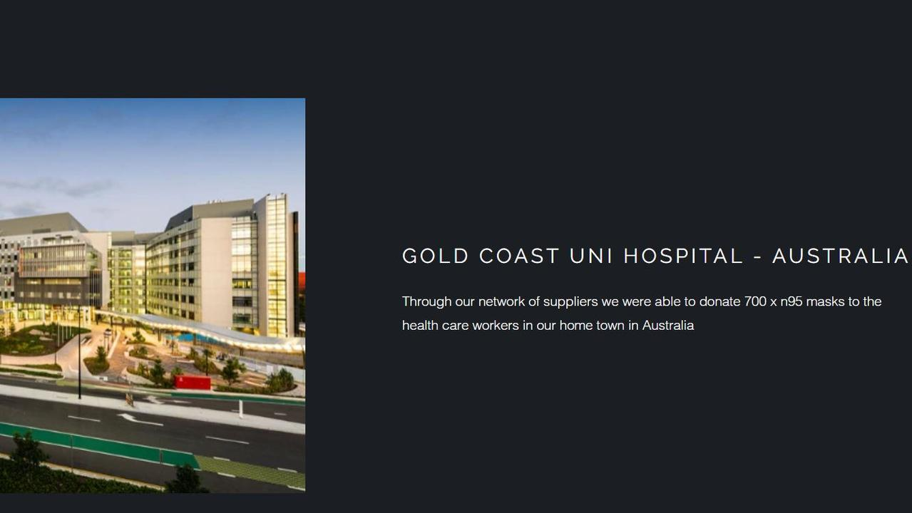 On the website's donation page, which has since been deleted the company claims it donated 700 masks to the Gold Coast University Hospital.