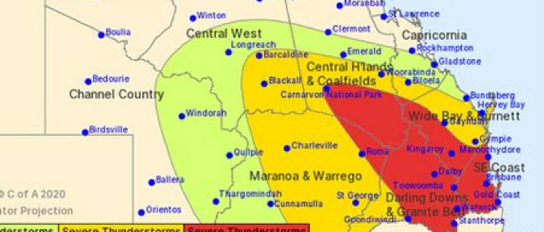 Severe thunderstorms are likely though the afternoon and evening across QLD's southeast.