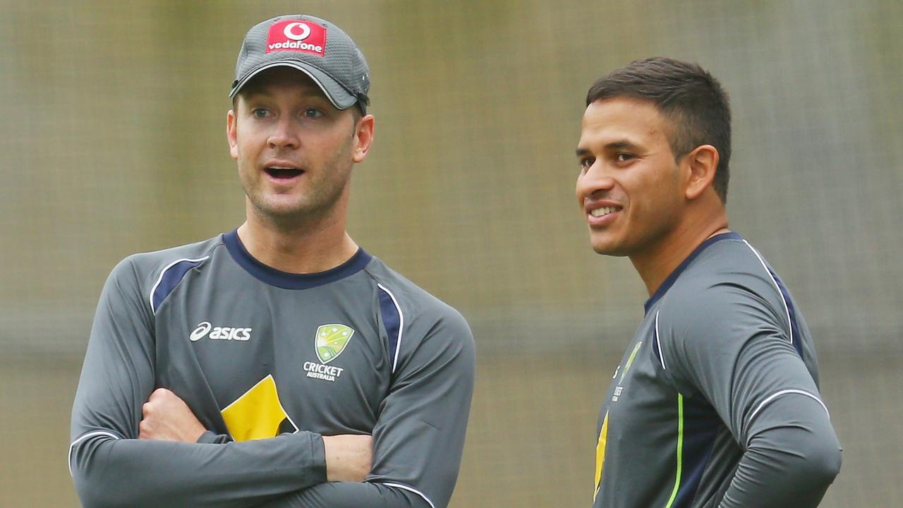 Michael Clarke and Usman Khawaja. (Photo by Scott Barbour/Getty Images)