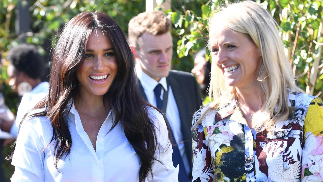Meghan with Kate Stephens, CEO of Smart Works, at the launch of the Smart Works capsule collection last September.
