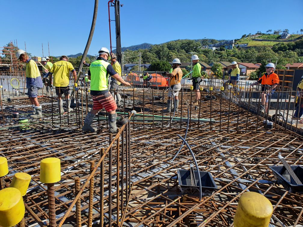 The first concrete pour on the $150 million Shoreline development happened today.