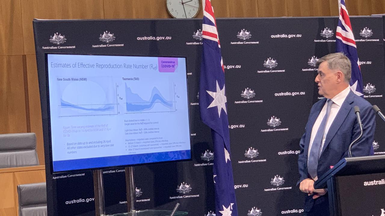 Professor Brendan Murphy shows the graph. Picture: Claire Armstrong