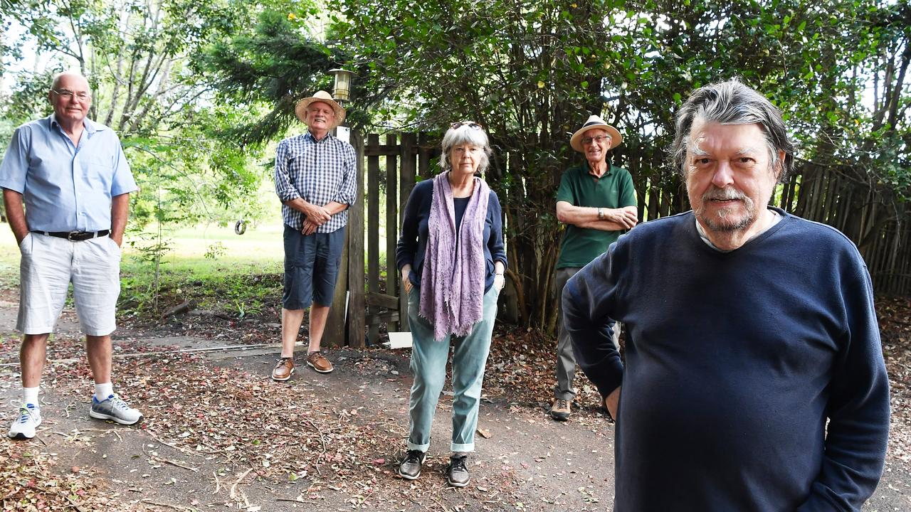 Blackall resident Richard McDonald (foreground) with Tony Brett, Lindsay Stewart, Vicki Locke and Max Standage are concerned a proposed over-50s lifestyle resort could ruin the hinterland lifestyle. Photo Patrick Woods / Sunshine Coast Daily.