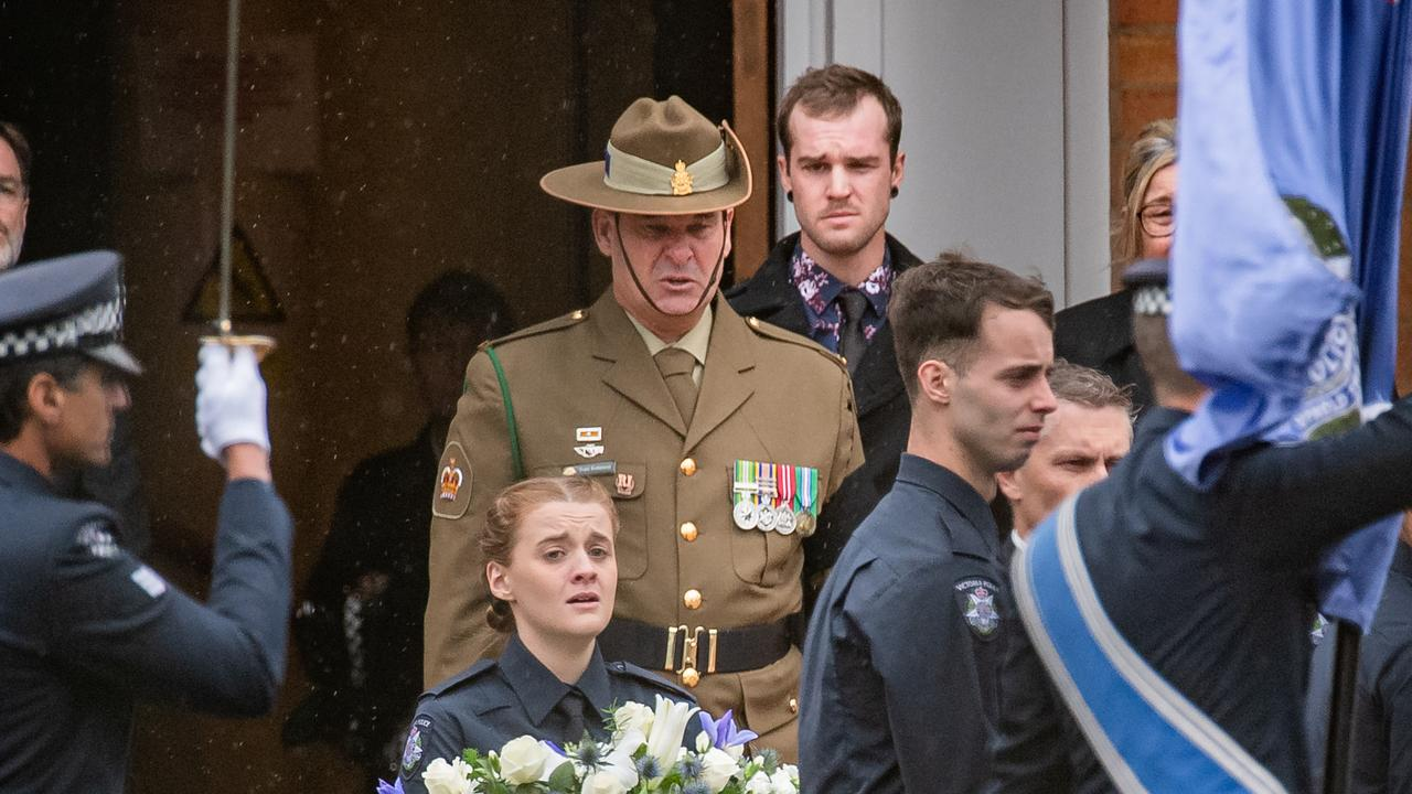 Todd Robinson farewelled partner Constable Glen Humphris. Picture: Jason Edwards