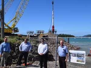Pile driving starts at Shute Harbour