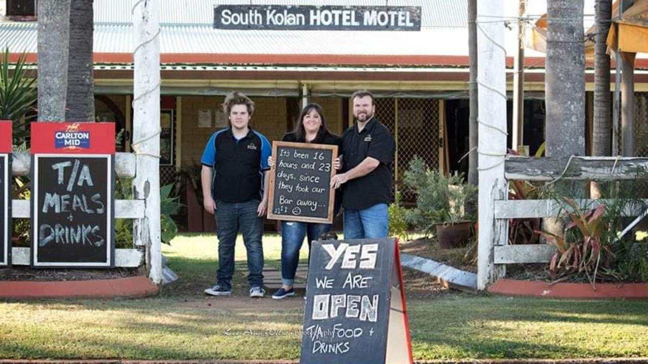 SUPPORTING LOCALS: Tyler, Jo and Alec Duffy from the South Kolan Hotel Motel thank the community for their support under the COVID-19 restrictions.