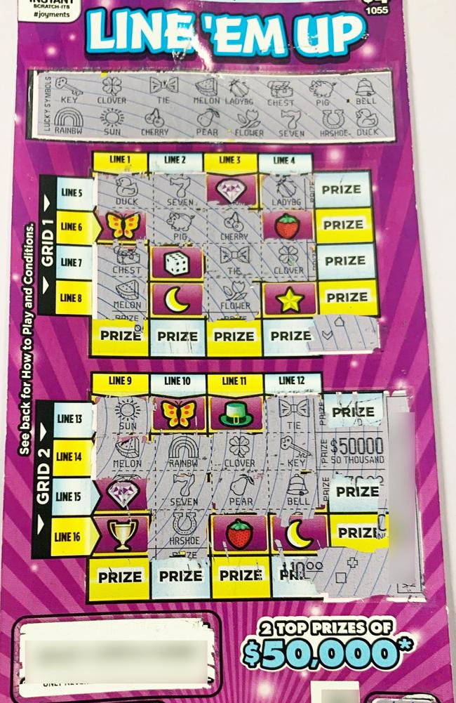 The winning Line 'Em Up scratchie.