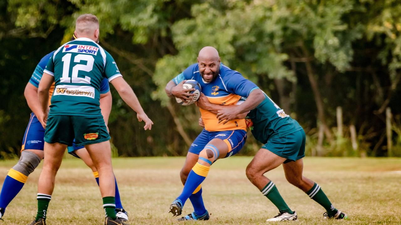 SCU centre Johnson Porykali takes the ball to the line against Lismore City in FNC rugby. Clubs could be back training by June 1. Photo Ursula Bentley@CapturedAus