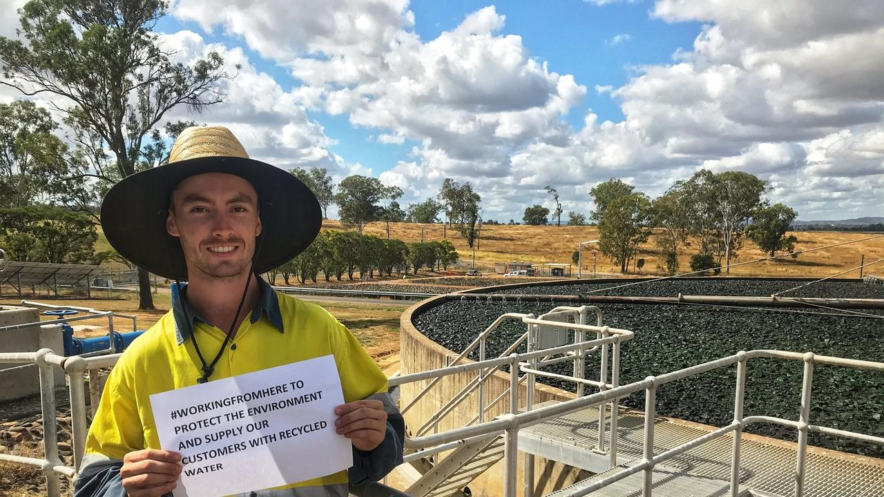 QUU Treatment Plant Operator Jamie Wood at the Gatton Sewage Treatment Plant.