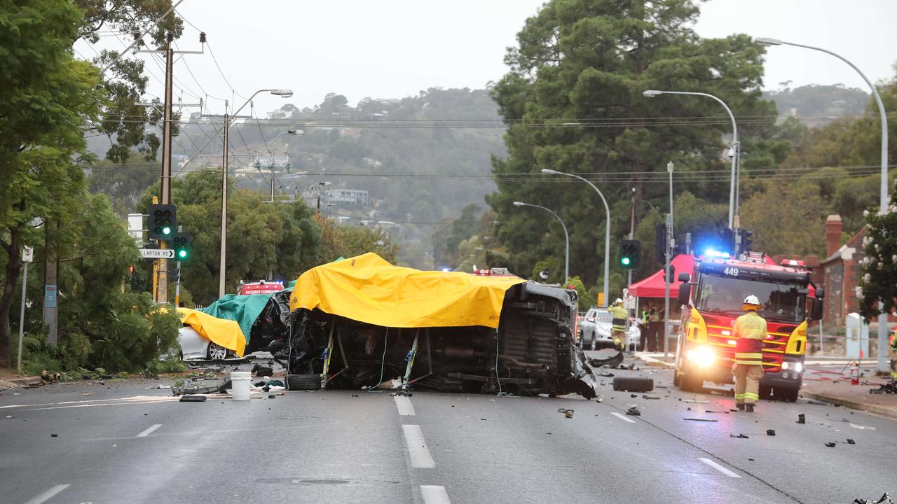 The horrific accident occurred at the intersection of Fullarton Rd and Cross Rd. Picture: Dean Martin/AAP