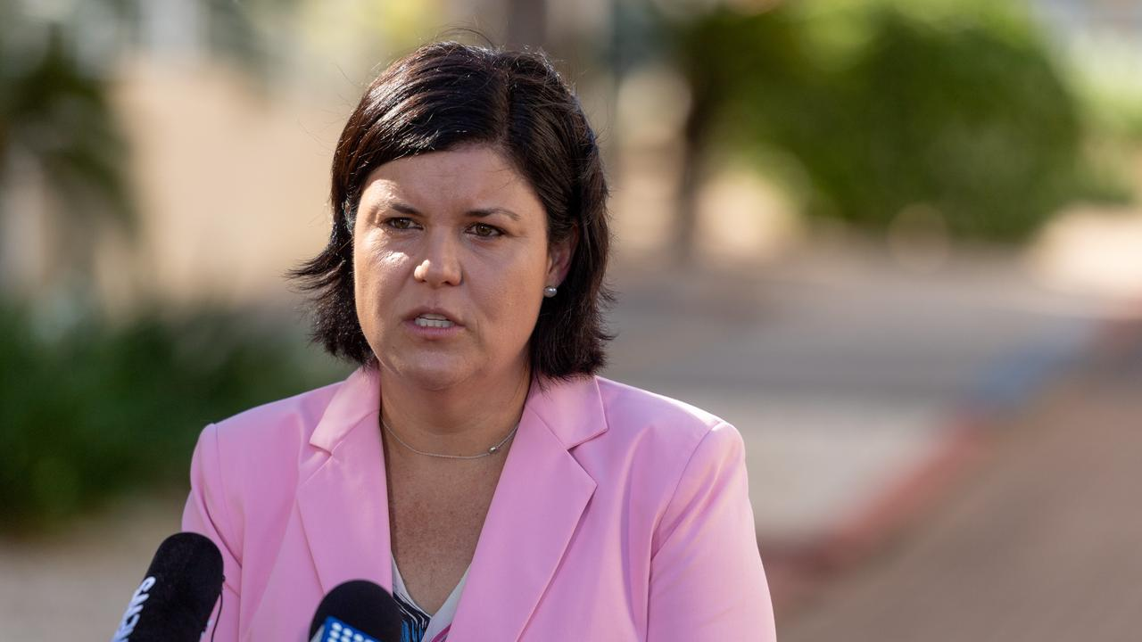 Health Minister Natasha Fyles updates media regarding four COVID-19 infected ADF personnel who arrived in Darwin this morning. Picture: Che Chorley