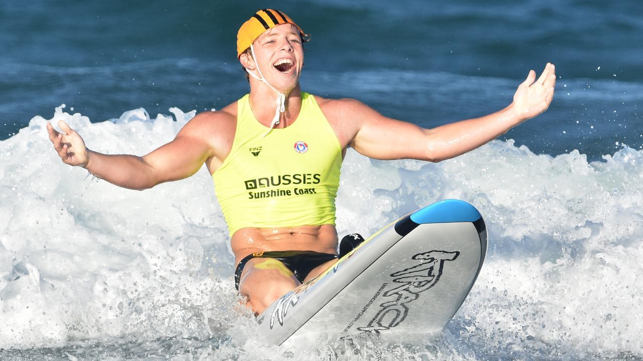 Josh Linton claimed gold for Alex Headland U17 board relay team at the 2016 Aussies on the Sunshine Coast. Photo: HarvPix