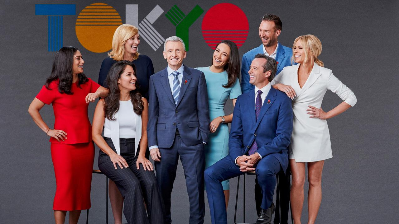 Seven Olympic Games Tokyo 2020 team. L – R:, Abbey Way, Mel McLaughlin, Johanna Griggs, Bruce McAvaney, Sonia Kruger, Hamish McLachlan, Trent Copeland, Lisa Sthalekar. Supplied
