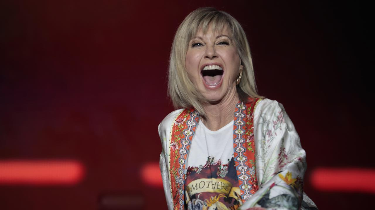 Olivia Newton-John performs during Fire Fight Australia at ANZ Stadium in Sydney. Picture: Getty Images