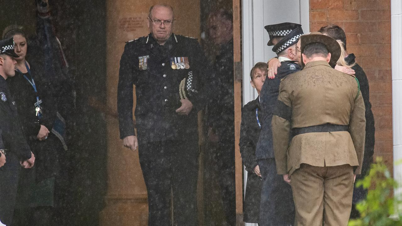 Police Commissioner Graham Ashton paid his respects to the fallen officer. Picture: Jason Edwards