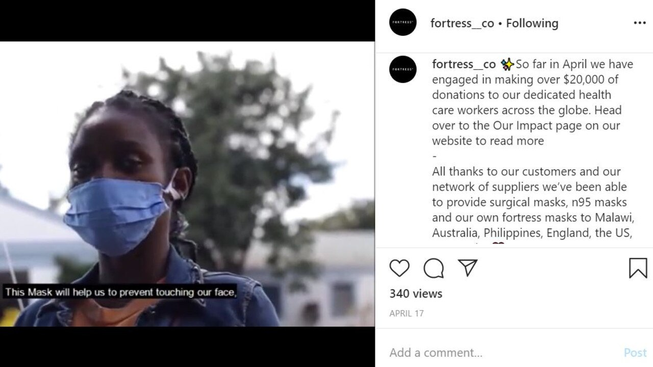 On its social media accounts Fortress Masks claimed it had already donated masks to a number of hospitals, including the Gold Coast University Hospital - which is yet to receive the supplies.