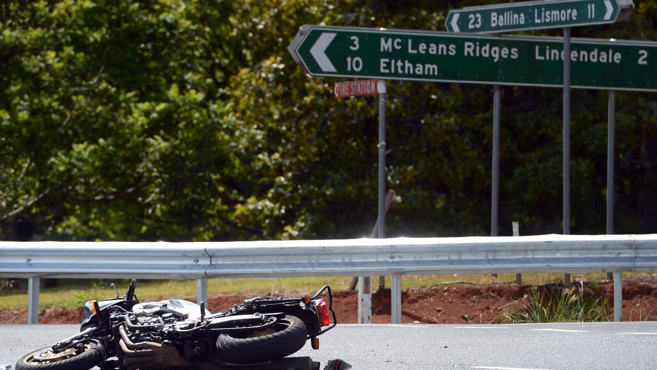 A motorcycle and truck collided at the intersection of the Bruxner Highway, Cowlong and Alphadale Roads at Alphadale in 2013. Photo Cathy Adams / The Northern Star