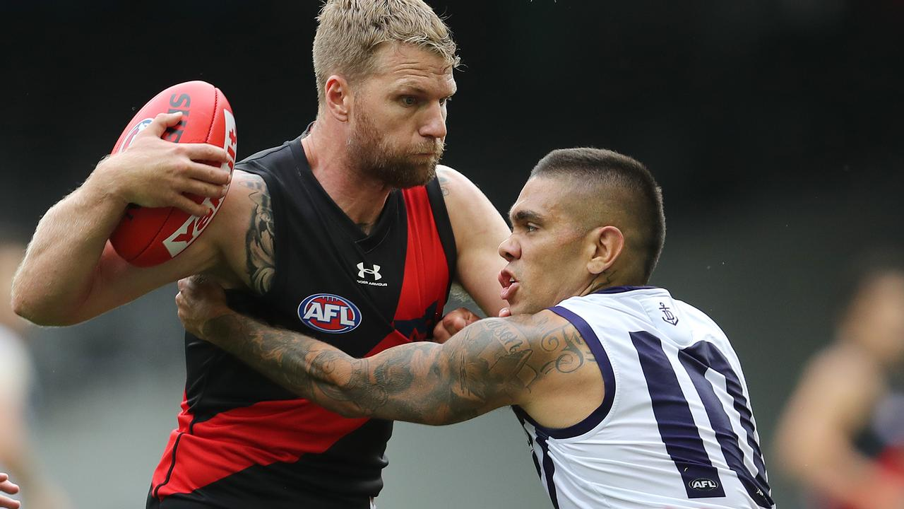Jake Stringer and Michael Walters in action during Round 1. Picture: Michael Klein