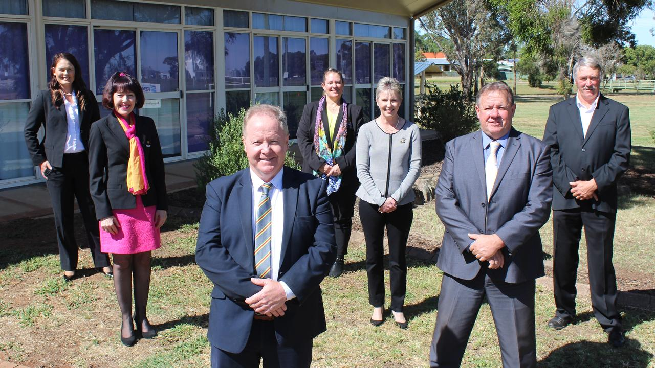 ROLES APPOINTED: The newly elected South Burnett Regional Council (from left) Kirstie Schumacher, Kathy Duff, (front) Mayor Brett Otto, Danita Potter, Roz Frohloff, Scott Henschen and Deputy Mayor Gavin Jones will represent council on various boards and committees. Photo: Laura Blackmore