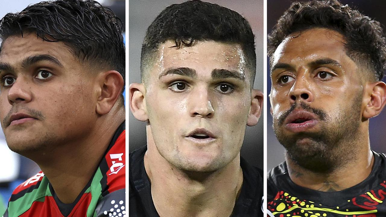 Latrell Mitchell, Nathan Cleary and Josh Addo-Carr have headlined a bad week for the NRL. Picture: Ian Hitchcock/Getty Images