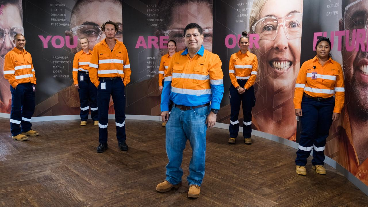 BHP acting president operations minerals Australia, Edgar Basto, with trainees from the BHP FutureFit Academy at the new training campus in Welshpool, Perth. Picture: supplied
