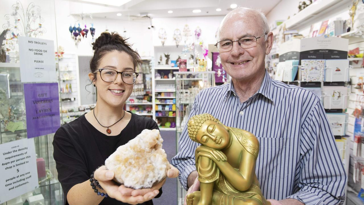 Alana Winter and Graham Todd at Crystal Journey, in the Strathpine Centre. (AAP/Attila Csaszar)