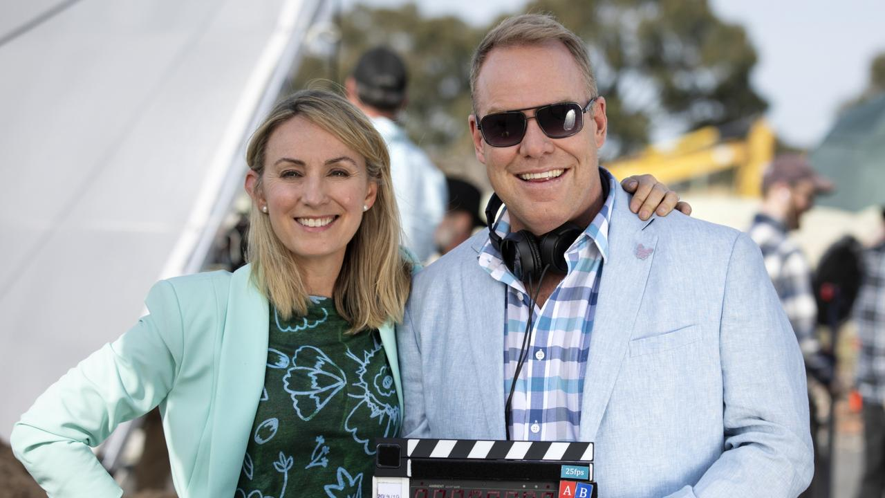 Lisa McCune and Peter Helliar on set of How To Stay Married.