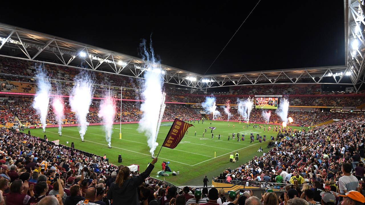 General view as players run out for the Round 9 NRL match between the Manly Sea Eagles and the Brisbane Broncos at Suncorp Stadium in Brisbane, Friday, May 10, 2019. (AAP Image/Dave Hunt) NO ARCHIVING, EDITORIAL USE ONLY
