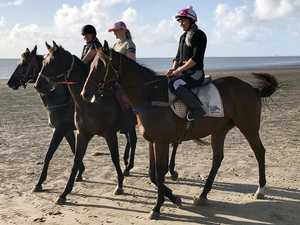 Why these race horses were spotted enjoying a beach day