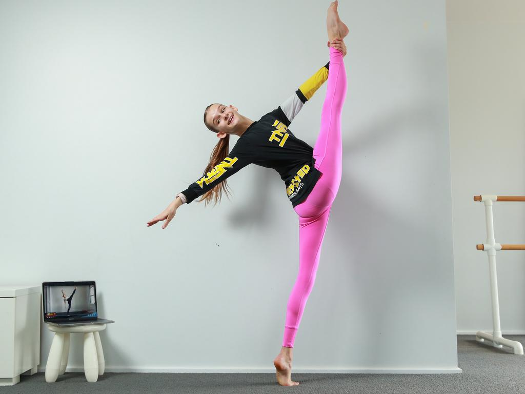 Dancer Olivia Wainman, 13, rehearsing at home, in Russell Lea, NSW. Olivia is continuing her full schedule of dance classes all online. Picture: Justin Lloyd