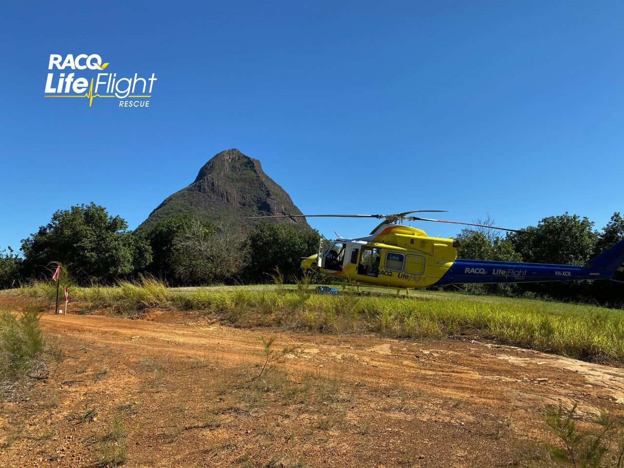 The Sunshine Coast-based RACQ LifeFlight Rescue helicopter lands at Beerwah.