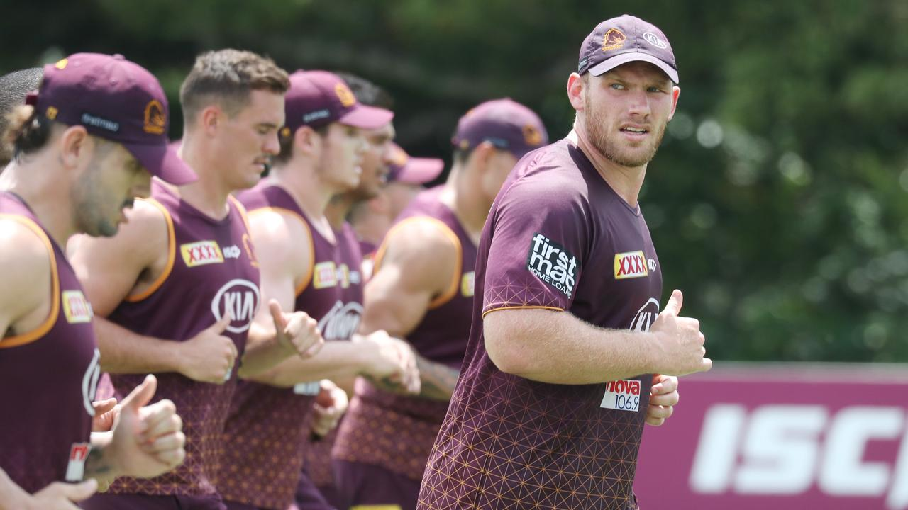 Matt Lodge at Broncos training. Pic Annette Dew